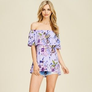 Tops - *Lilac Floral Ruffled Off the Shoulder Knit